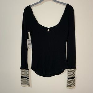 Free People Tops - Free People Black Mod Stripe Cuff Waffle Knit Top